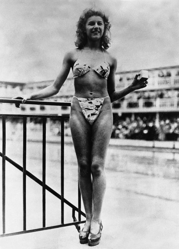 Micheline Bernardini wearing the first bikini, 1946